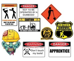 Tools boxes and hard hats stickers