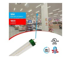 Install T8 4ft 18W LED Tube Glass 5000K Clear Single Ended Power