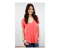 Willow Hi/Lo Pocket Top- Coral $21.50 Sale