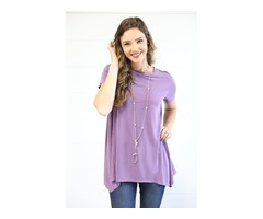 Basic Sharkbite Tunic- Eggplant