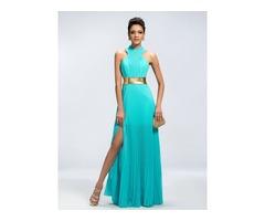 Trendy A-Line Halter Split-Front Long Evening Dress