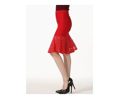 Lace High-Waist Knee-Length Mermaid Skirt