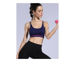 Cross-Back Adjustable Straps Breathable Sports Bra