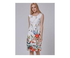 White Print Cap Sleeve Womens Sheath Dress