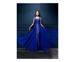 Chic Tulle Neck Appliques Lace Sequins Long Evening Dress