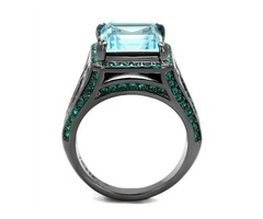 Simulated Aquamarine and Green Crystal Stainless Steel Ring | free-classifieds-usa.com