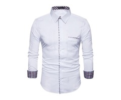 Tidebuy Simple Style Pure Color Mens Slim Shirt