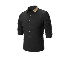 Tidebuy Pure Color Single-Breasted Mens Dress Shirt