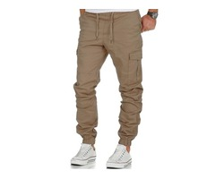 Tidebuy Plain Lace-Up Cargo Mens Casual Pants