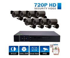 5in1 1080N 8CH DVR 8Pcs 720P HD IR-CUT Outdoor Camera Home Security Video System