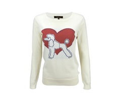 Yemak Sweater | Cute Poodle Love Heart Long Sleeve Round Neck Casual Pullover Knit Sweater MK3463