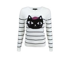 Yemak Sweater | Adorable Black Cat Round Neck Stripe Patterned Casual Jacquard Sweater MK8097