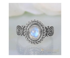 Moonstone Ring Rounded Flair-GSJ