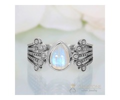 Moonstone Ring Guarded Dewdrop-GSJ