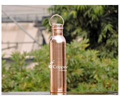 Shop for Pure Hammered Copper Water Bottle with Carrying Handle at Amazing Prices