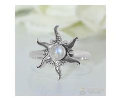 Moonstone Ring Starburst Sun-GSJ