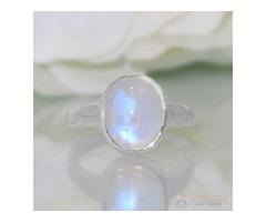 Moonstone Ring Orb Of Night-GSJ