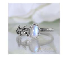 Moonstone Ring Delicate Cusp-GSJ