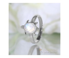 Moonstone Ring Graceful Turtle-GSJ