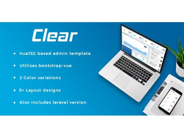 Vuejs Laravel admin Template By Clear | free-classifieds-usa.com