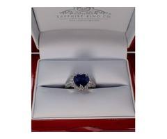 Blue heart cut Sapphire Diamond Ring