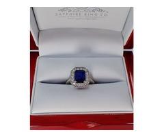 Natural Blue Diamond Sapphire Ring