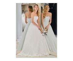 A-Line Strapless Pleats Beach Wedding Dress