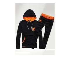 Tidebuy Hooded Letter Print Two Piece Mens Sports Suit