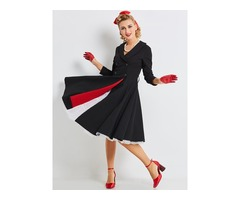 Tidebuy Cotton Blends Double-Breasted Womens Skater Dress