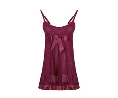 Exotic elastic Tulle Transparent Bowknot Straps Sleepwear Nightdress