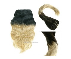 CLIP HAIR OMBRE COLOR #1 JET BLACK/#18 ASH BLONDE HAIR EXTENSIONS