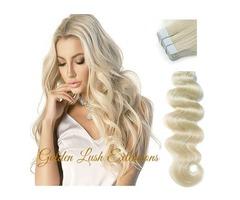 "PLATINUM BLONDE TAPE INS HAIR EXTENSIONS LENGTH 22"""