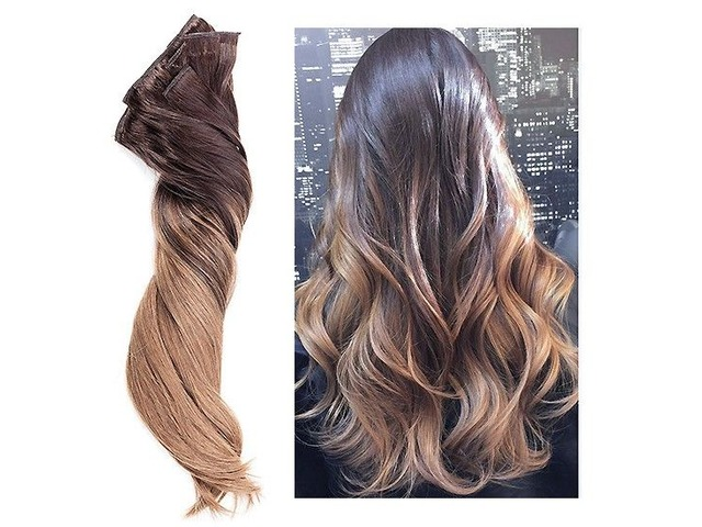 CLIP HAIR OMBRE #2 DARKEST BROWN  /#10 CARAMEL  20