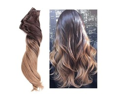 CLIP HAIR OMBRE #2 DARKEST BROWN  /#10 CARAMEL  20""