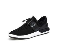 Mesh Elastic Band Low-Cut Upper Black Mens Sneakers