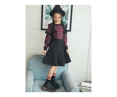 Plaid Lace Patchwork Long-Sleeve Girls A-Line Dress