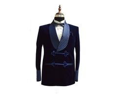 Men blue smoking velvet jacket quilted blazers