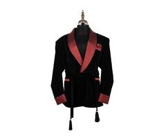 Men Black smoking velvet jacket elegant designer belted Party Wear blazers