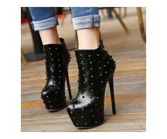 PU Side Zipper Rivet Platform Womens Boots