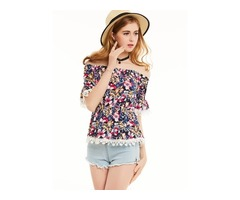 Slim Slash Neck Flower Print Blouse