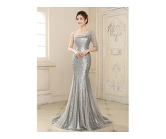 Mermaid One-Shoulder Half Sleeve Sequins Beading Long Evening Dress