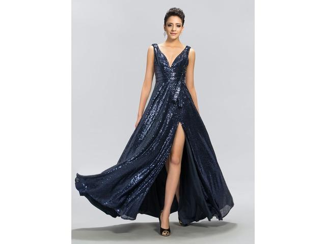 A-Line V-Neck Sequins Split-Front Evening Dress | free-classifieds-usa.com