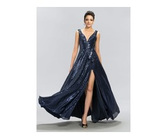 A-Line V-Neck Sequins Split-Front Evening Dress