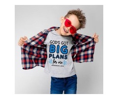 Faith Clothing of fun tees for kids with messages printed on it
