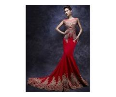 Amazing Mermaid Tulle Neck Appliques Beading Long Evening Dress