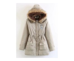 Hooded Lace-Up Mid-Length Womens Coat