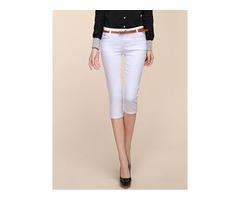 Slim Mid-Calf Mid -Waist Solid Color Pencil Pants
