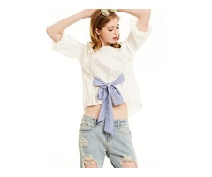 Tie Front Bowknot Petal Sleeve Blouse