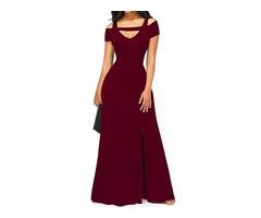 Tidebuy Off-The-Shoulder Split Womens Maxi Dress