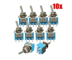 10ps 6 Pins 3 Position 3A 250V/6A 120V ON/OFF/ON Toggle Switch
